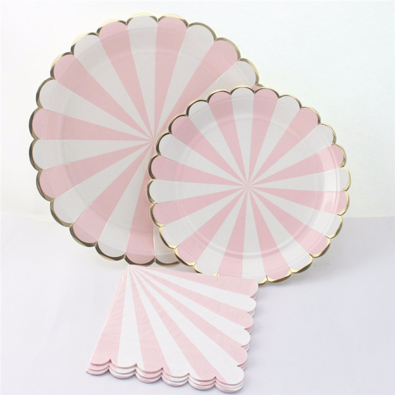& Pink and Gold Striped Paper Plates | Polka Dot Affair